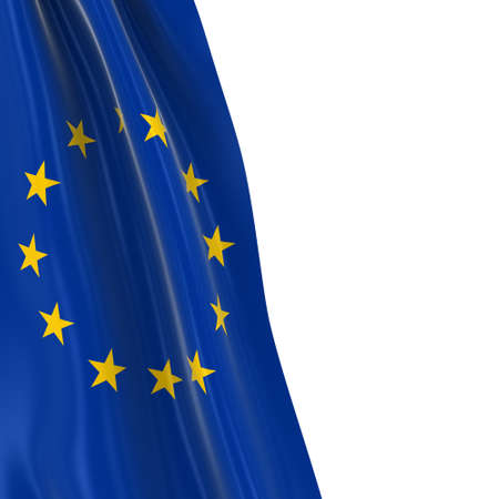 Hanging Flag of the European Union - 3D Render of the EU Flag Draped over white background with copyspace for text Reklamní fotografie