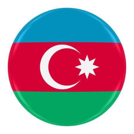 azerbaijani: Azerbaijani Flag Badge - Flag of Azerbaijan Button Isolated on White