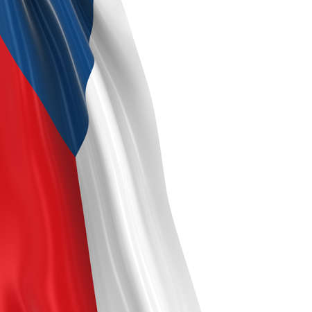 hanging dangling: Hanging Flag of Czech Republic - 3D Render of the Czech Flag Draped over white background