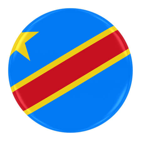 dr: Congolese Flag Badge - Flag of DR Congo Button Isolated on White