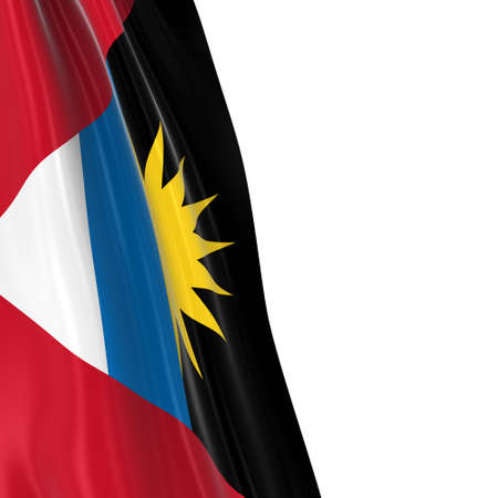 dangling: Hanging Flag of Antigua and Barbuda - 3D Render of the Antiguan and Barbudan Flag Draped over white background