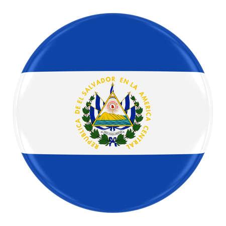 el salvadoran: Salvadoran Flag Badge - Flag of El Salvador Button Isolated on White Stock Photo