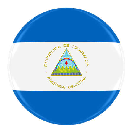nicaraguan: Nicaraguan Flag Badge - Flag of Nicaragua Button Isolated on White Stock Photo