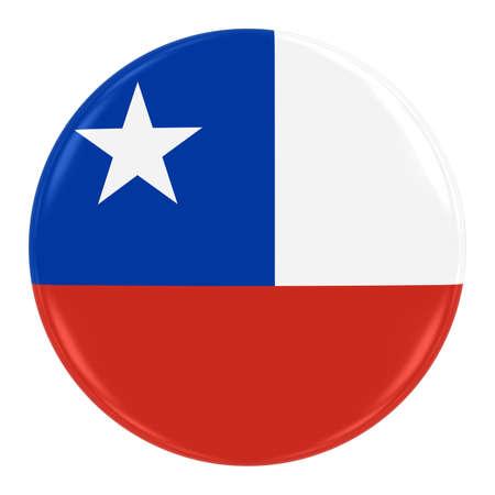 bandera chilena: Insignia de la bandera de Chile - Bandera de Chile Botón aislado en blanco Foto de archivo