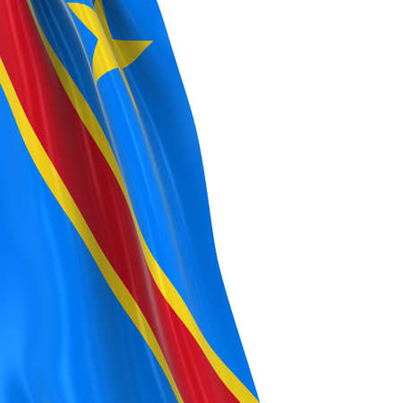 dangling: Hanging Flag of DR Congo - 3D Render of the Congolese Flag Draped over white background