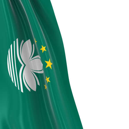 dangling: Hanging Flag of Macau - 3D Render of the Macanese Flag Draped over white background
