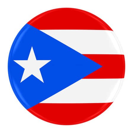 puerto rican flag: Puerto Rican Flag Badge - Flag of Puerto Rico Button Isolated on White