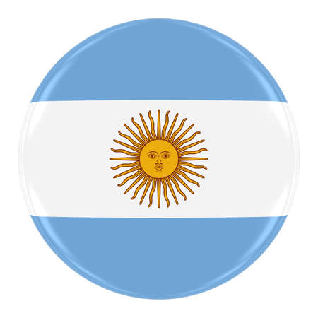 argentinian: Argentinian Flag Badge - Flag of Argentina Button Isolated on White