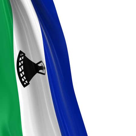 draped: Hanging Flag of Lesotho - 3D Render of the Basotho Flag Draped over white background