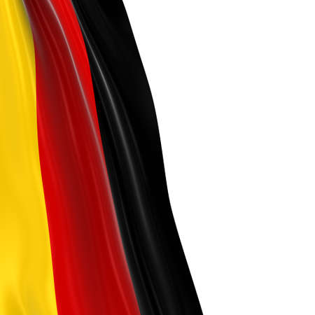 flag germany: Hanging Flag of Germany - 3D Render of the German Flag Draped over white background with copyspace for text Stock Photo