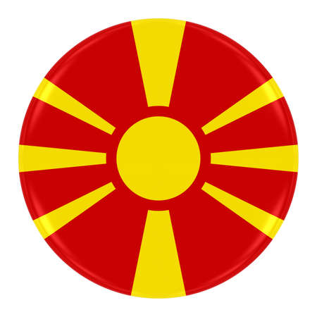 macedonian flag: Macedonian Flag Badge - Flag of Macedonia Button Isolated on White Stock Photo