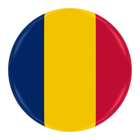chadian: Chadian Flag Badge - Flag of Chad Button Isolated on White