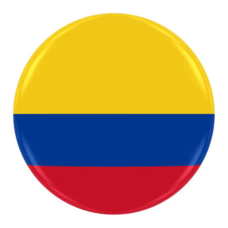 colombian flag: Colombian Flag Badge - Flag of Colombia Button Isolated on White Stock Photo
