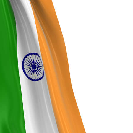 india 3d: Hanging Flag of India - 3D Render of the Indian Flag Draped over white background Stock Photo