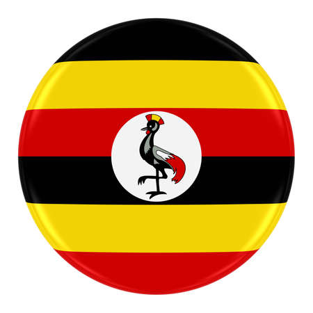 ugandan: Ugandan Flag Badge - Flag of Uganda Button Isolated on White Stock Photo