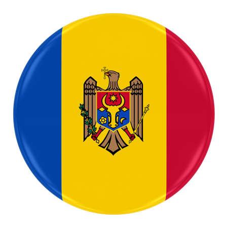 moldovan: Moldovan Flag Badge - Flag of Moldova Button Isolated on White Stock Photo