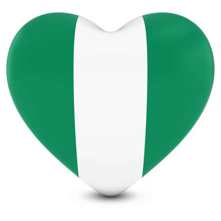 nigerian: Love Nigeria Concept Image - Heart textured with Nigerian Flag