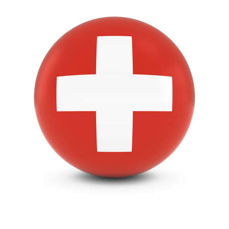 three dimensional   shape: Swiss Flag Ball - Flag of Switzerland on Isolated Sphere Stock Photo