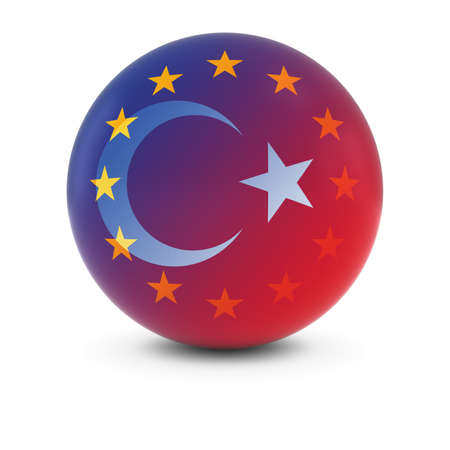 fading: Turkish and European Flag Ball - Fading Flags of Turkey and the EU