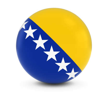 bosnian: Bosnian and Herzegovinian Flag Ball - Flag of Bosnia and Herzegovina on Isolated Sphere Stock Photo
