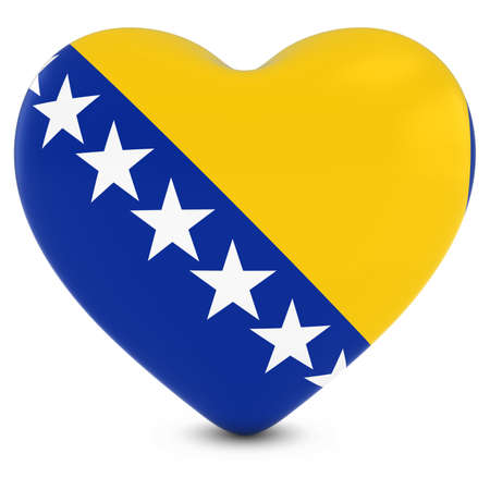 bosnian: Love Bosnia and Herzegovina Concept Image - Heart textured with Bosnian and Herzegovinian Flag Stock Photo