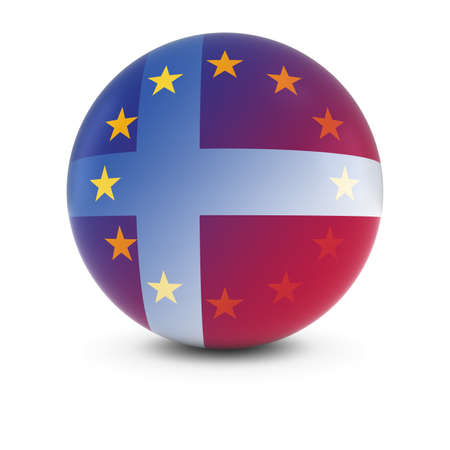 merge together: Danish and European Flag Ball - Fading Flags of Denmark and the EU