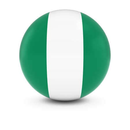 three dimensional shape: Nigerian Flag Ball - Flag of Nigeria on Isolated Sphere