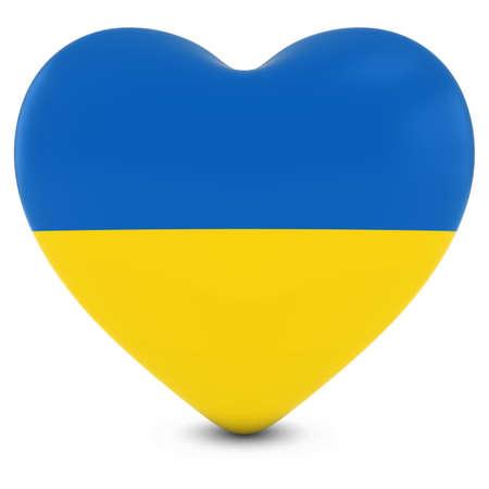 ukrainian flag: Love Ukraine Concept Image - Heart textured with Ukrainian Flag