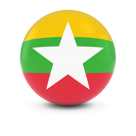 burmese: Burmese Flag Ball - Flag of MyanmarBurma on Isolated Sphere