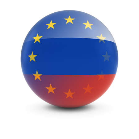 fading: Russian and European Flag Ball - Fading Flags of Russia and the EU Stock Photo
