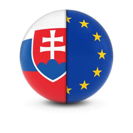 slovakian: Slovakian and European Flag Ball - Split Flags of Slovakia and the EU