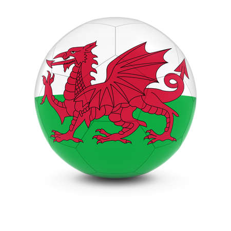 welsh flag: Galles Calcio - Bandiera del Galles su Soccer Ball Archivio Fotografico
