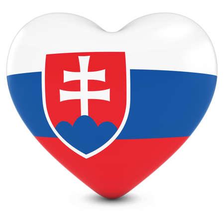 slovakian: Love Slovakia Concept Image - Heart textured with Slovakian Flag