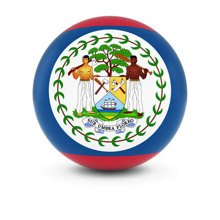 belize: Belizean Flag Ball - Flag of Belize on Isolated Sphere