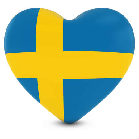 Love Sweden Concept Image - Heart textured with Swedish Flag