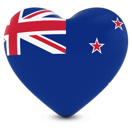 new zealand flag: Love New Zealand Concept Image - Heart textured with New Zealand Flag Stock Photo