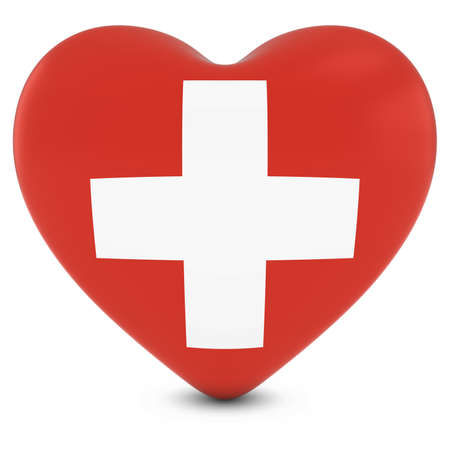 swiss flag: Love Switzerland Concept Image - Heart textured with Swiss Flag