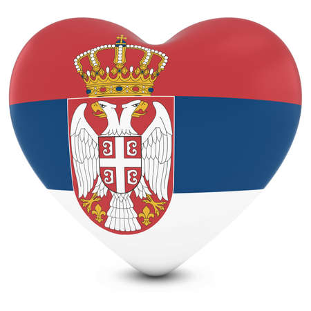 serbia: Love Serbia Concept Image - Heart textured with Serbian Flag