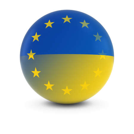 merge together: Ukrainian and European Flag Ball - Fading Flags of Ukraine and the EU