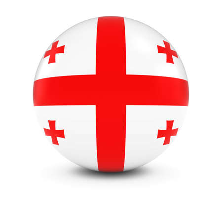 georgian: Georgian Flag Ball - Flag of Georgia on Isolated Sphere Stock Photo