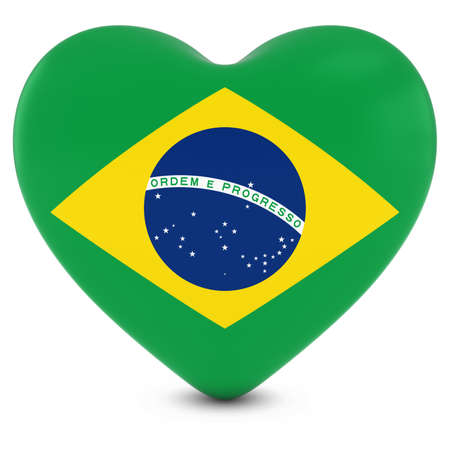 brazilian: Love Brazil Concept Image - Heart textured with Brazilian Flag Stock Photo