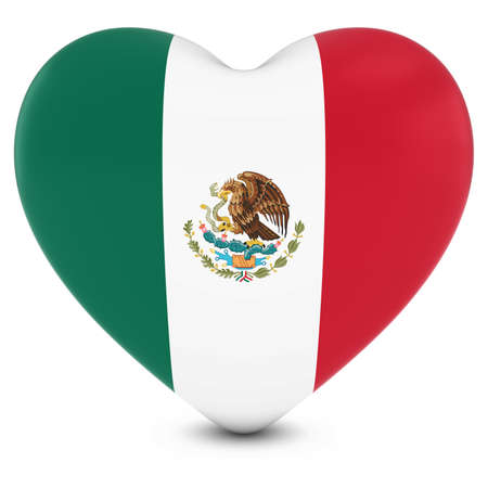 mexican flag: Love Mexico Concept Image - Heart textured with Mexican Flag
