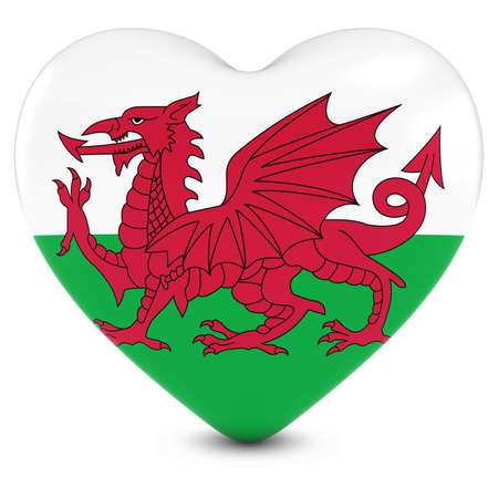 welsh flag: Love Wales Concept Image - Heart textured with Welsh Flag