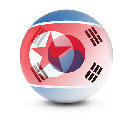 merge together: North and South Korean Flag Ball - Fading Flags of North Korea and South Korea Stock Photo