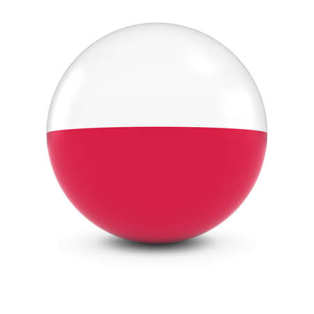 bandera de polonia: Polish Flag Ball - Flag of Poland on Isolated Sphere Foto de archivo