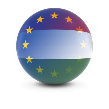hungarian: Hungarian and European Flag Ball - Fading Flags of Hungary and the EU