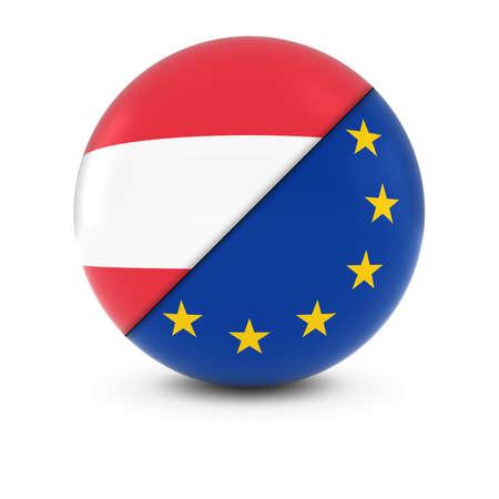 austrian: Austrian and European Flag Ball - Split Flags of Austria and the EU Stock Photo