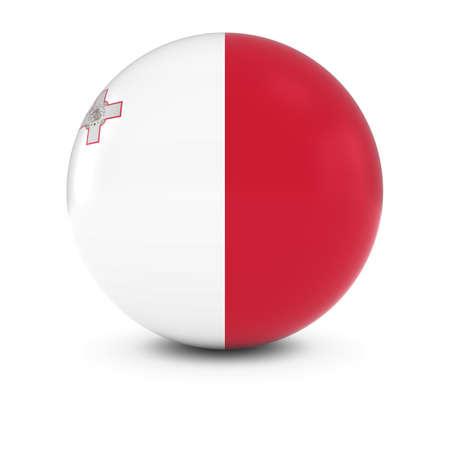 maltese: Maltese Flag Ball - Flag of Malta on Isolated Sphere