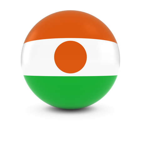 niger: Nigerien Flag Ball - Flag of Niger on Isolated Sphere
