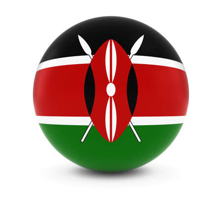 three dimensional shape: Kenyan Flag Ball - Flag of Kenya on Isolated Sphere Stock Photo